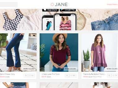 Jane Shopping Website React JS