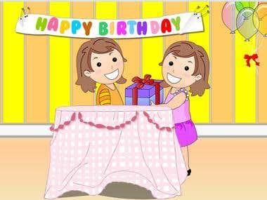 Animated Video - children songs [ birthday song ] - German
