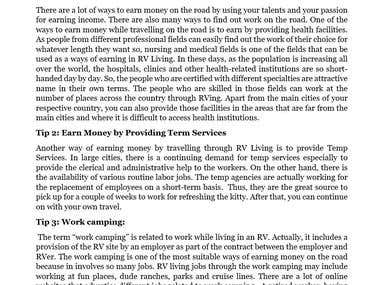 """Article on """"Tips to Earn Money through RV living"""""""