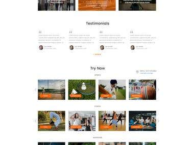 Landing page for sporting goods online