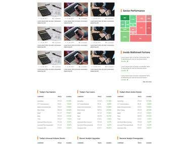 Landing page for stock market related