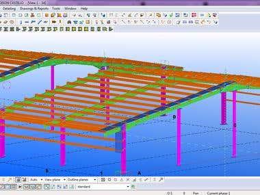 Structural Steel Framing Modeling 3D