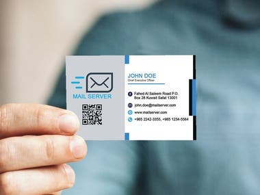 Design a zoomed image of a man holding business card