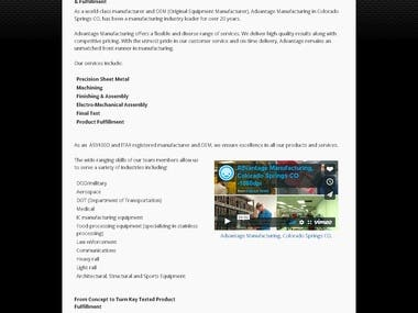 Copywriting - Manufacturing Company for Sheet Metal & Finish
