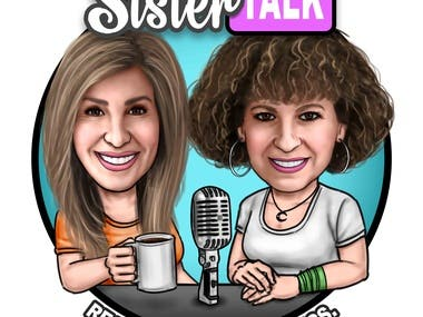 Caricature logo for podcast
