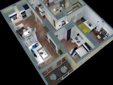 3d plan and interior design