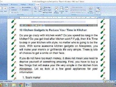 Article survey on kitchen