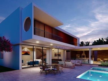 3ds Max Modeling exterior rendering with photoshop