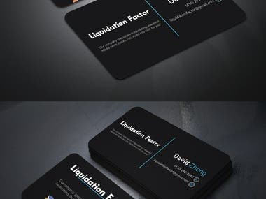 Professional Business card design for liquidation factor.