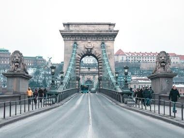 Budapest winter cityscape