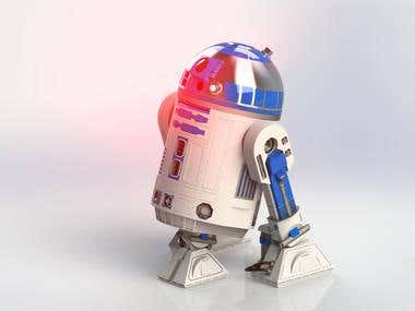 R2-D2 model, rendered in Solidworks