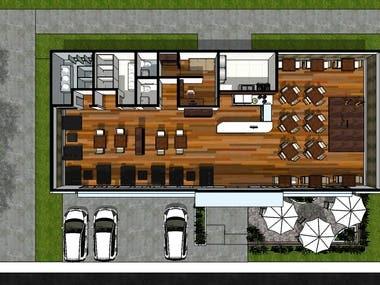 coffee shop 3d modelling