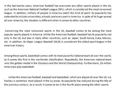 Site content about sports in America