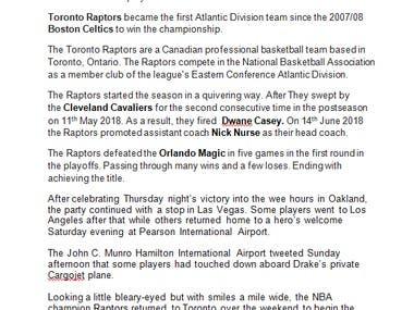 My articles about NBA 18/19 season