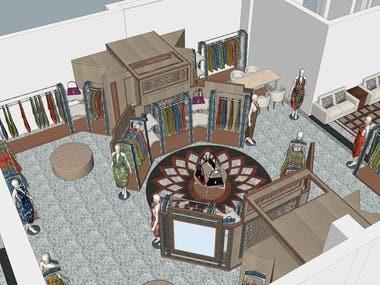 Planning & 3D modeling of a Fabric Showroom Vasansi