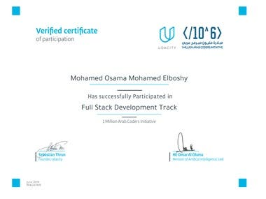 Certificate from udacity