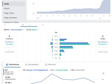 Facebook ads & analyse results.