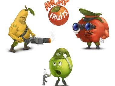 Angry fruits illustration