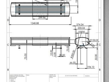 2d Drafting of an Ambulance Light for Manufacturing