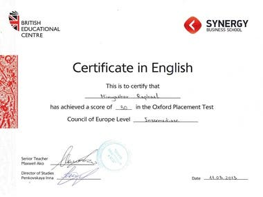 Certificate in Enlgish