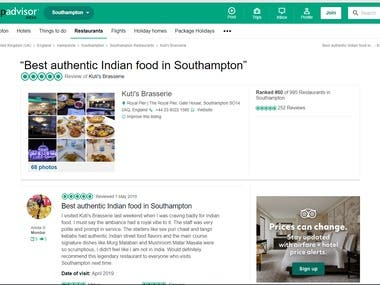 Tripadvisor - Short article, travel story, food lover