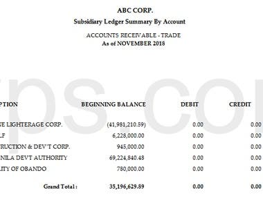 Resume, Financial reports and related schedules of the accts