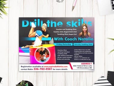Flyer Design For Coaches and Tumbling Clinic