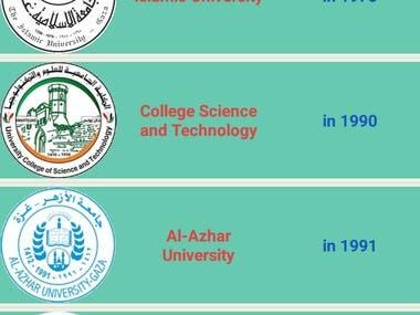 Gaza Universities (ListView)
