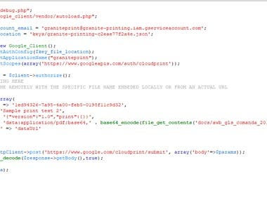 PHP - Google CLOUD Print Script