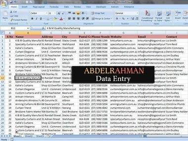 Data Entry Work ( Australian Business Data )