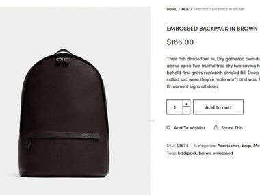eCommerce Design, Product Page