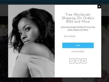 Shopify Website, Pop-up Design