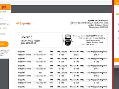 Chrome Extension to create pdf invoice for aliexpress
