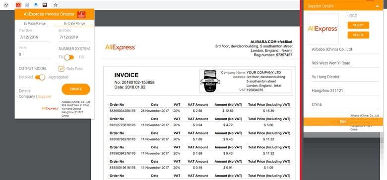 Aliexpress Invoice Download