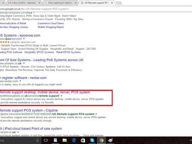 "website rank first on keyword ""UK Remote support POS system"""