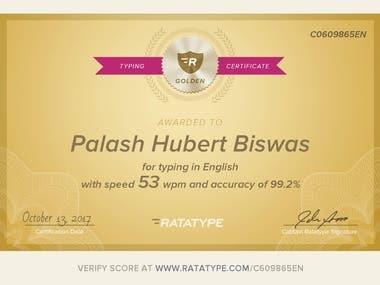 Typing speed online certificate