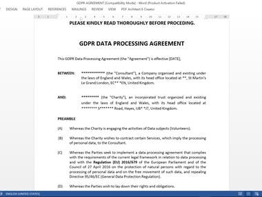 GDPR DATA PROCESSING & CONFIDENTIALITY AGREEMENT.