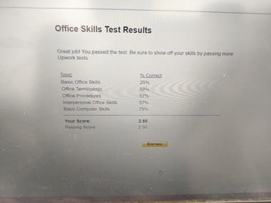 Office Work Test