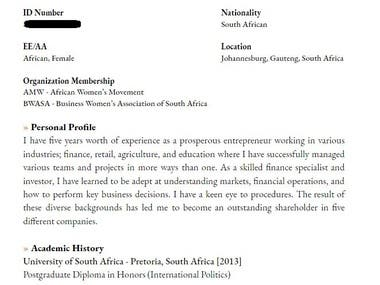 CV of an entrepreneur