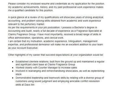Cover letter for an Account Executive position