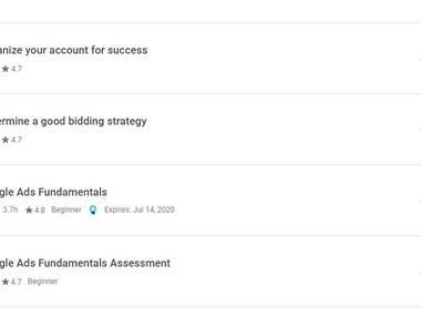 Google Ads Fundamentals Certificates more modules