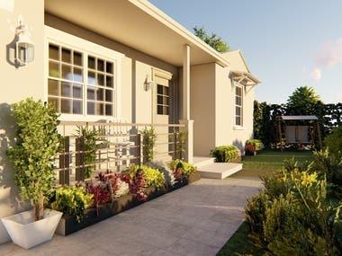 design of a facade and outdoor garden of a villa