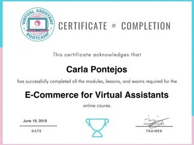E-Commerce Certificate for Virtual Assistant