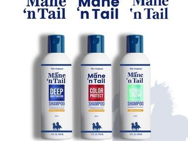 logo and packaging Mane 'n Tail Shampoo.