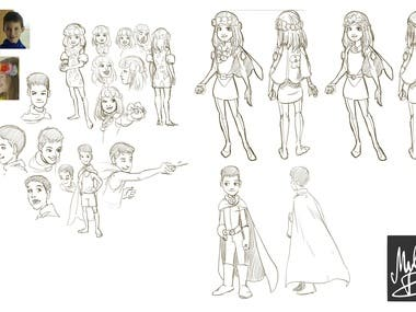 Character designs for a commercial