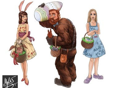 Character illustration for Easter Theme