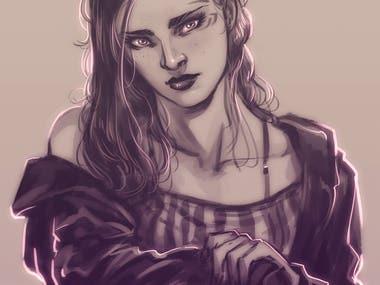 Portrait illustration for a friend