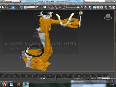ABB Industrial ROBOT 3d model using 3DMAX
