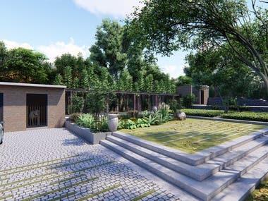 Landscape development in home garden