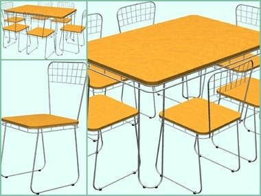 Table&Chair - Wire-Steel Frame | Design